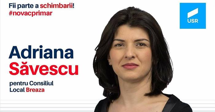 Adriana Săvescu este candidat la Consiliul Local Breaza, din partea USR