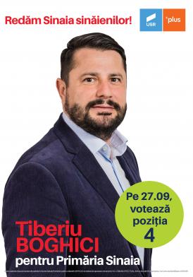 """Tiberiu Boghici: """"candidez din partea Alianței USR-Plus la Primăria orașului Sinaia"""""""